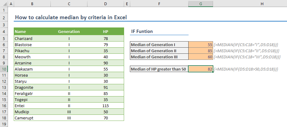 How to calculate median by criteria in Excel - Array Formula