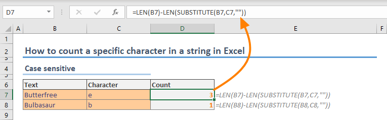 How to count a specific character in a string in Excel 01