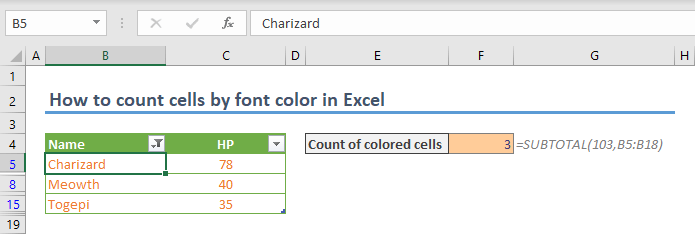 How to count cells by font color in Excel