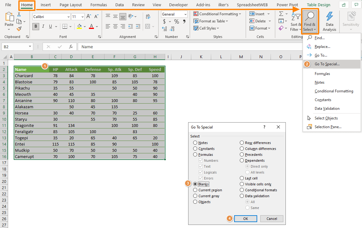 How to fill blank cells simultaneously in Excel 01