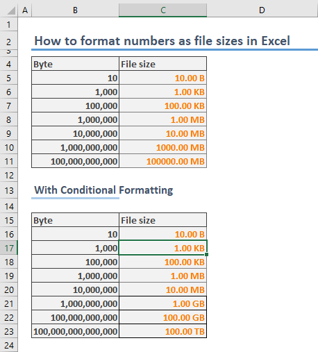 How to format numbers as file sizes in Excel