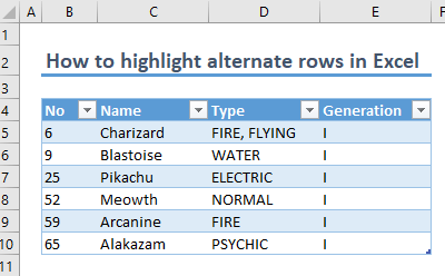 How to highlight alternate rows in Excel