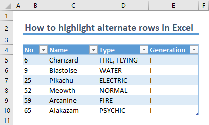 How to highlight alternate rows in Excel 02