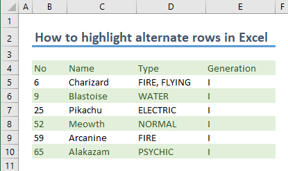 How to highlight alternate rows in Excel 06