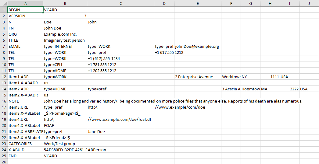 How to open a VCF file in Excel 04