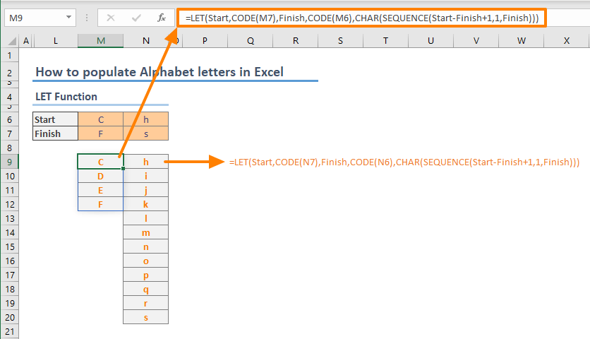 How to populate Alphabet letters in Excel in 3 ways - LET