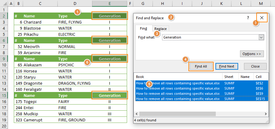 How to remove all rows containing specific value in Excel - Find Replace