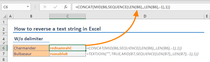 How to reverse a text string in Excel wo delimiters