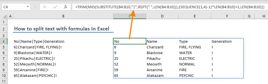 How to split text with formulas in Excel 02