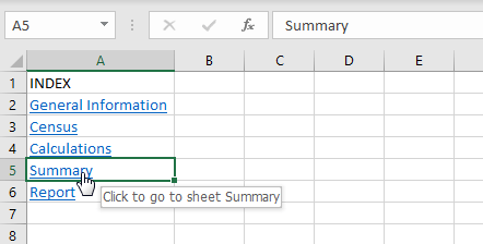 How to create index of sheets in Excel with hyperlinks 03