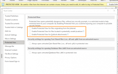 How to disable protected view mode in Excel