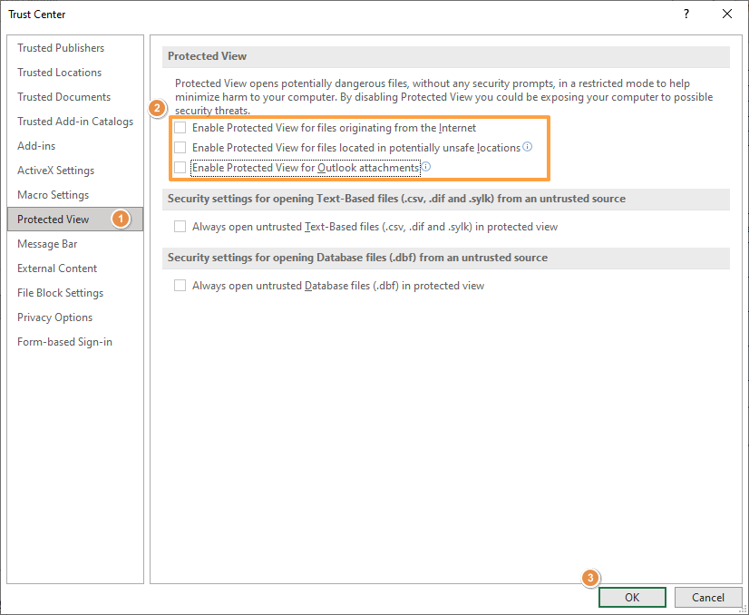 How to disable protected view mode in Excel 03