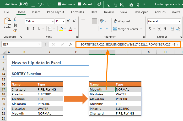 How to flip data in Excel 03 - SORTBY