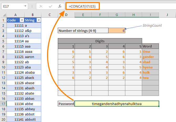 How to generate diceware passwords in Excel 02