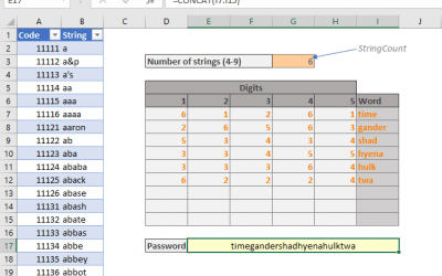 How to generate Diceware passwords in Excel
