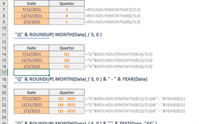 How to get quarter from a date in Excel