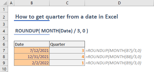 How to get quarter from date in Excel 01