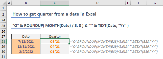 How to get quarter from date in Excel 04