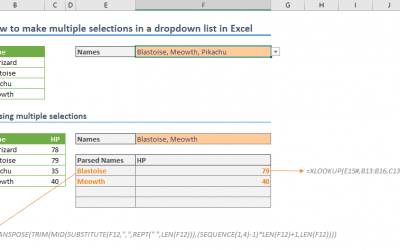 How to make multiple selections in a dropdown list in Excel