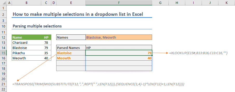 How to make multiple selections in a drop down list in Excel 05