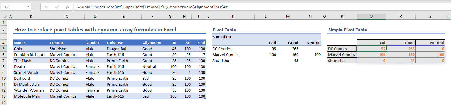 How to replace pivot tables with dynamic array formulas in Excel 04