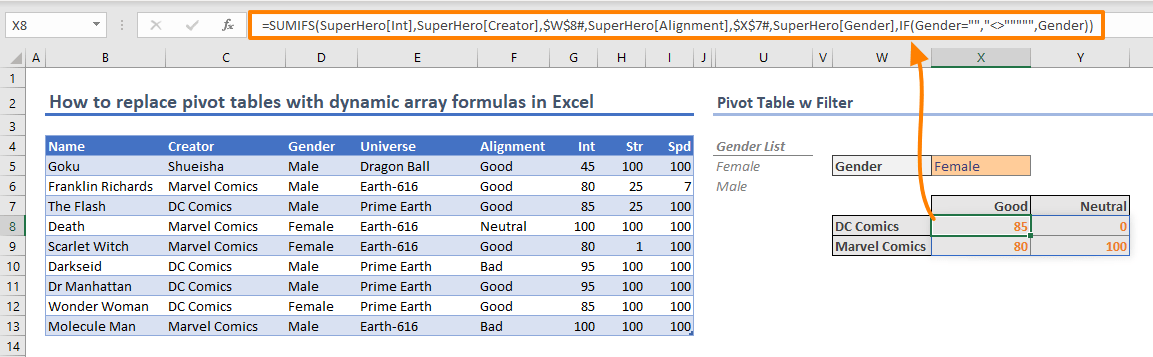 How to replace pivot tables with dynamic array formulas in Excel 08