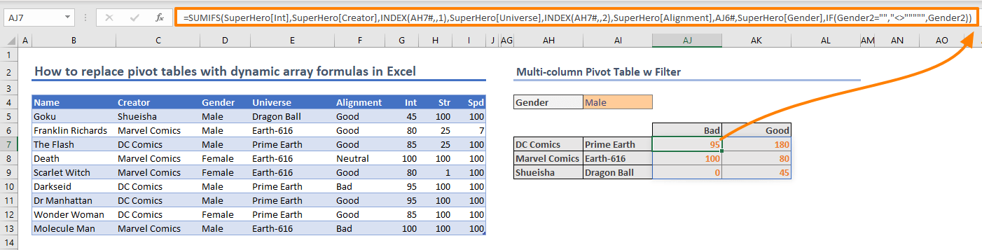 How to replace pivot tables with dynamic array formulas in Excel 12