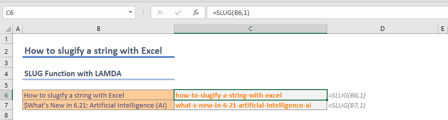 How to slugify a string with Excel 02