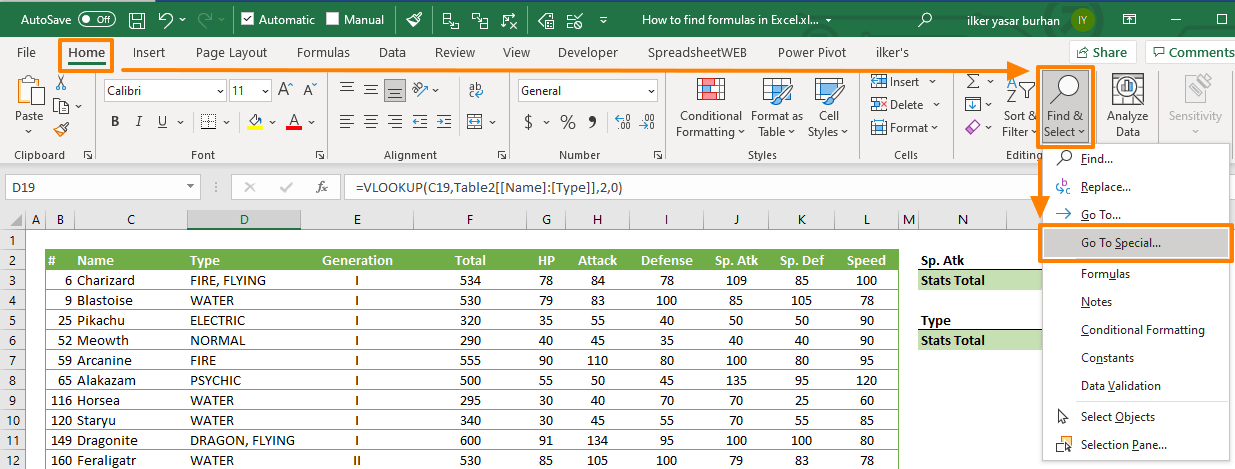 How to find formulas in Excel 02
