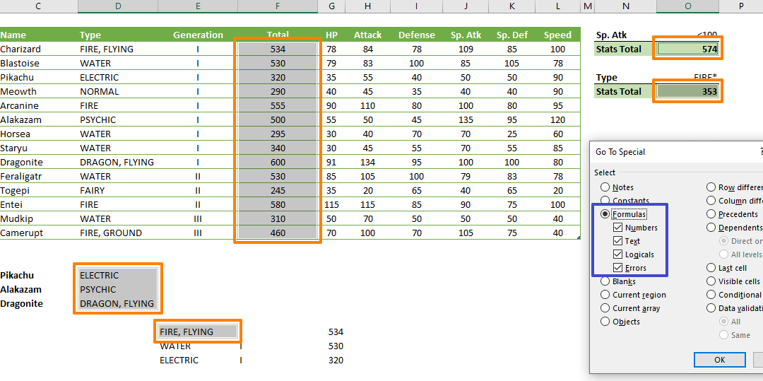 How to find formulas in Excel
