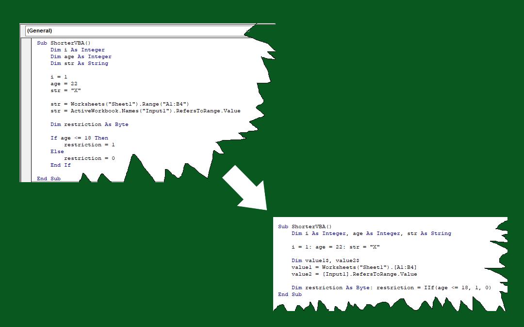 How to shorten VBA code in Excel