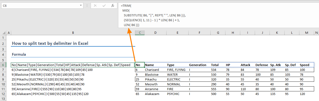 How to split text by delimiter in Excel 03
