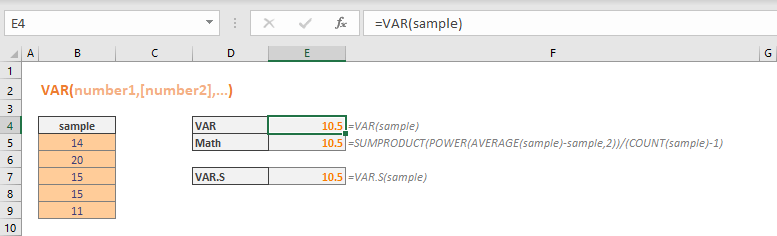 Excel VAR Function 02