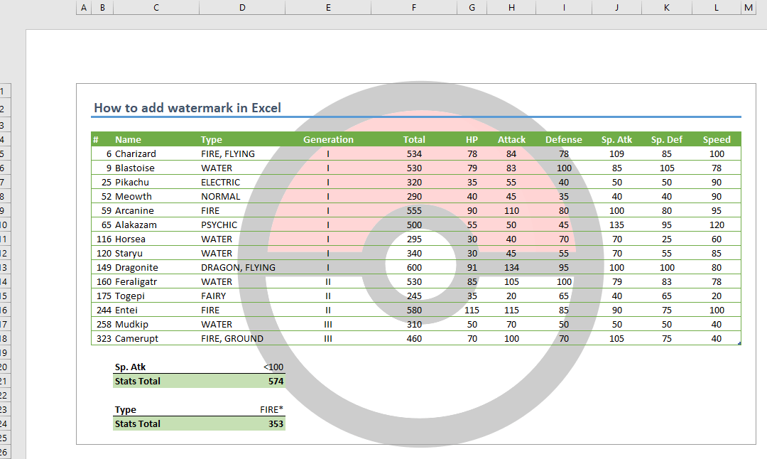 How to add watermark in Excel