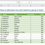 How to alternate row color based on group in Excel