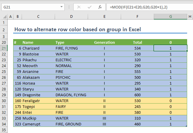 How to alternate row color based on group in Excel 07