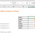 How to calculate variance in Excel