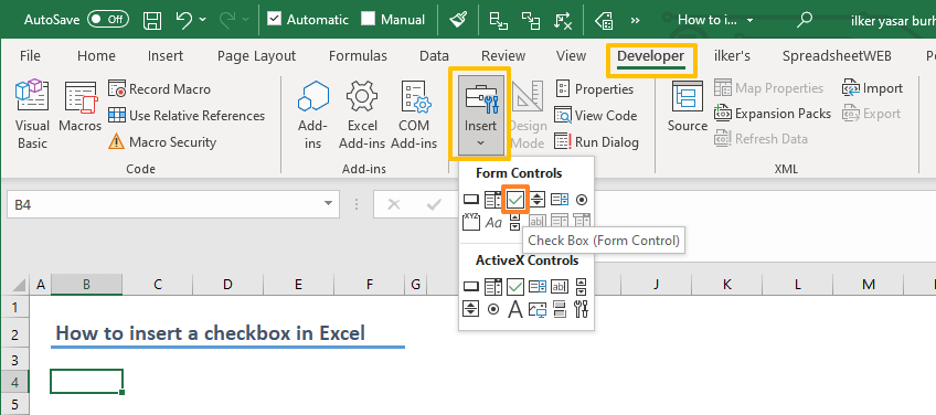 How to insert a checkbox in Excel 03-min