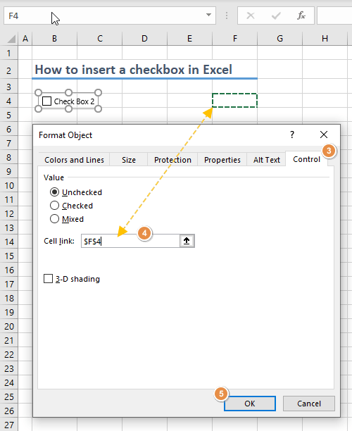 How to insert a checkbox in Excel 06-min