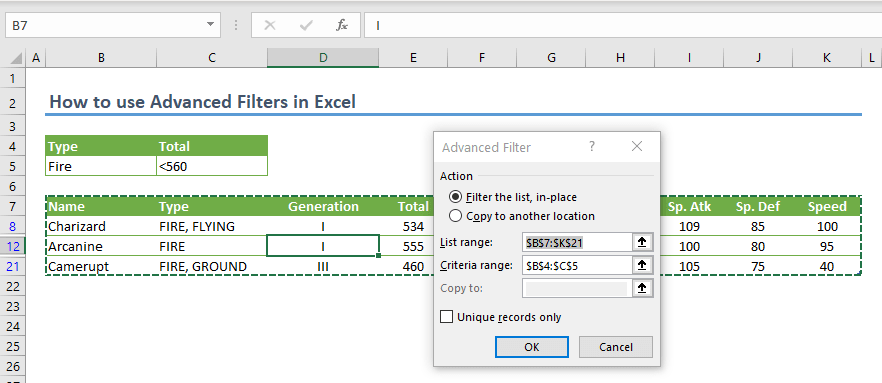 How to use Advanced Filters in Excel 05