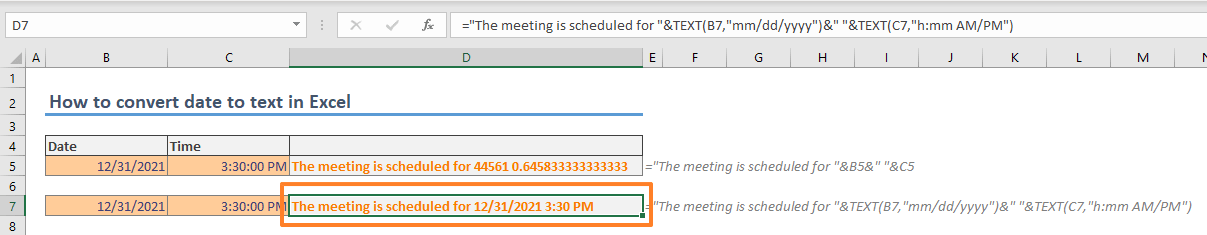 How to convert date to text in Excel 03