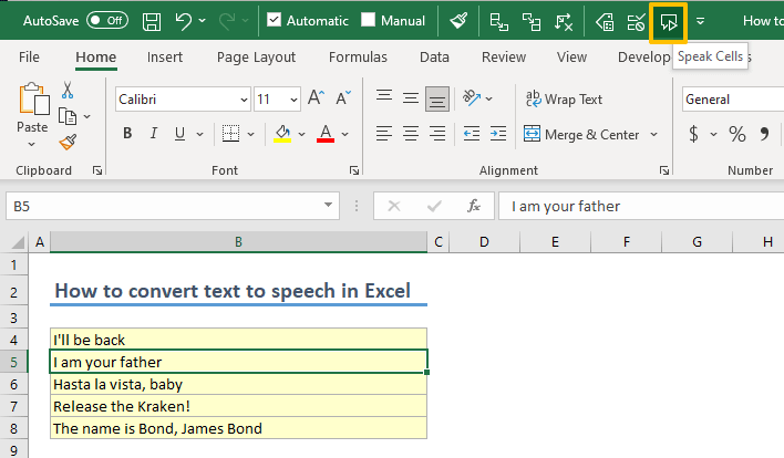 How to convert text to speech in Excel 06