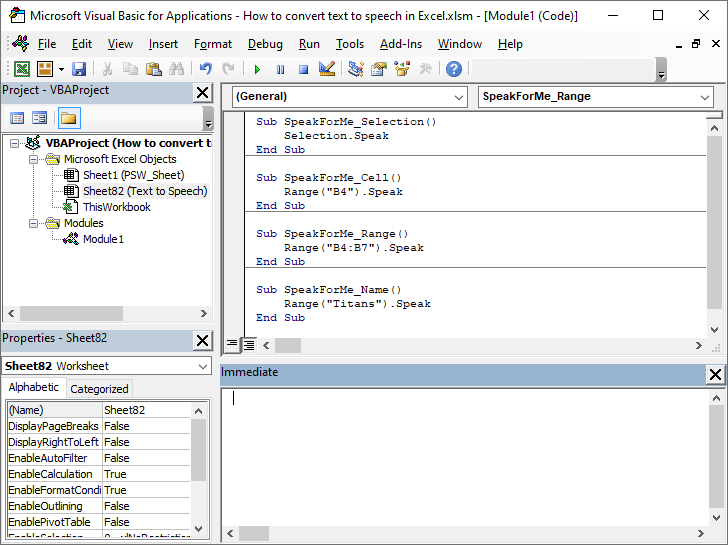 How to convert text to speech in Excel 07