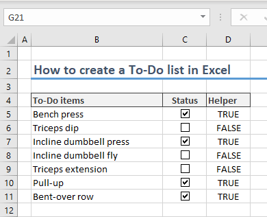 How to create a To-Do list in Excel 04