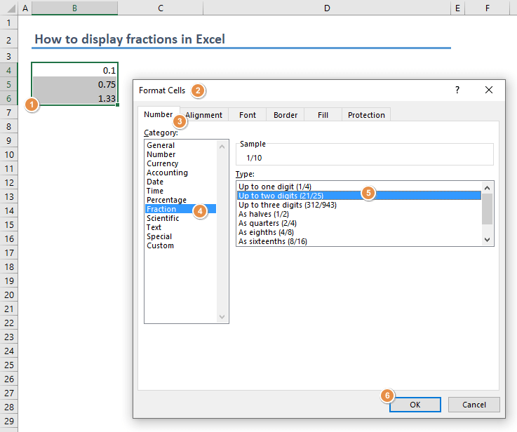 How to display fractions in Excel 01-min