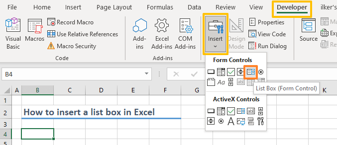 How to insert a list box in Excel 03-min