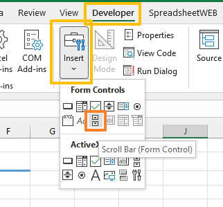 How to insert a slider in Excel 03