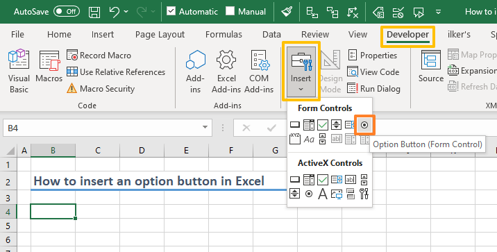 How to insert an option button in Excel 03