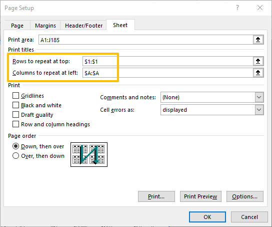 How to print header row and column in Excel