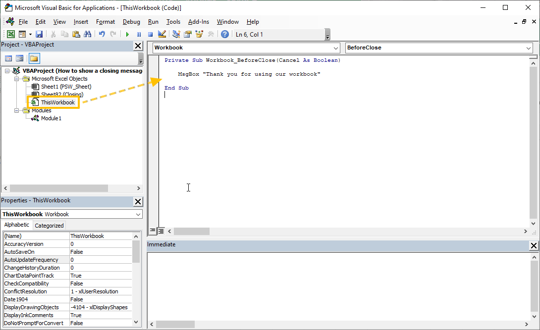 How to show a closing message in Excel 01
